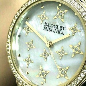 Badgley Mischka Gold-Tone Swarovski Women's Watch